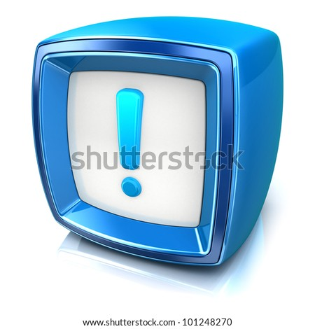 exclamation symbol on blue badge icon on white background. 3d render