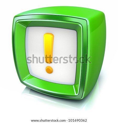 exclamation symbol on green badge icon on white background. 3d render