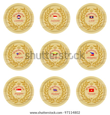 exclusive asia wooden badge collection 4 - stock photo