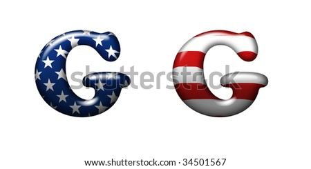 Exclusive collection letters with american stars and stripes isolated on white background - G