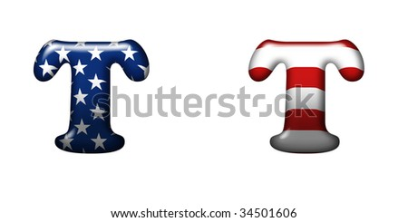 Exclusive collection letters with american stars and stripes isolated on white background - T
