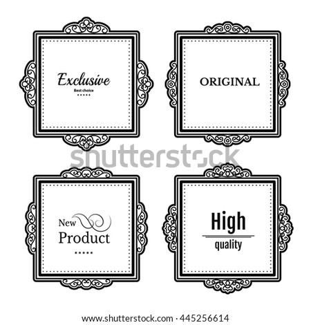 Exclusive decor elements or shape for business. Vintage frame in set. Raster page decoration. Decoration for business, wedding album or restaurant menu. Calligraphic design borders