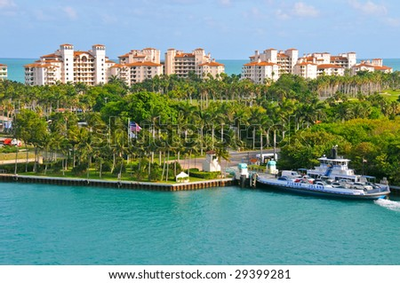 exclusive fisher island and ferry near miami beach, florida