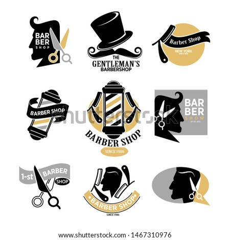 Exclusive gentlemans barbershop in New York since 1986 stylish isolated logotypes set. Male profile, tall hat and mustache, old razor, big mirror and sharp metal scissors  illustrations.