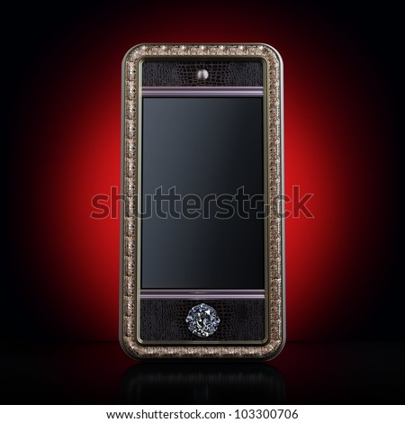 Exclusive golden mobile phone with diamond home button for VIP with black screen (version on red background). Iphone-style device