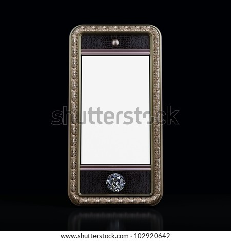 Exclusive golden mobile phone with diamond home button for VIP with blank screen on black background.