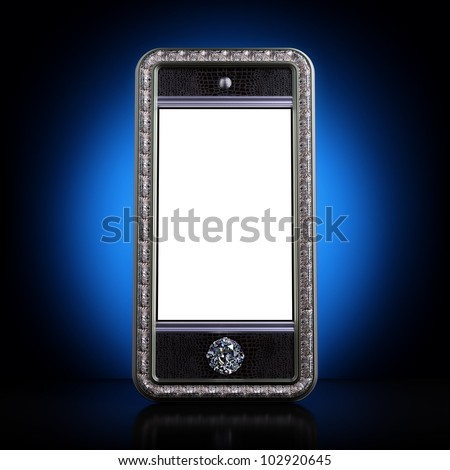 Exclusive golden mobile phone with diamond home button for VIP with blank screen on blue background.