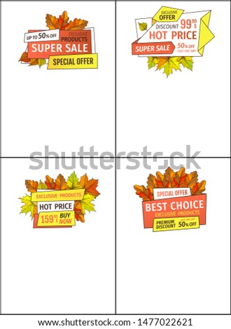 Exclusive offer only on Thanksgiving special price 159.90 and 99.90 templates. Sale promo posters with maple leaves, oak foliage autumn symbols adverts