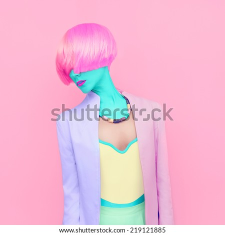 Exclusive photos. Girl fashion mix colors