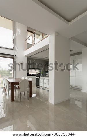 Exclusive spacious dining hall with shining marble floor