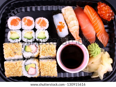 Exclusive sushi menu in your Delivery, top view