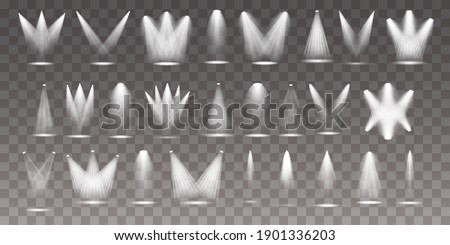 Exclusive use lens flash light effect from a lamp or spotlight. Set of the white spotlight shines on the stage, scene, podium.  Foto stock ©