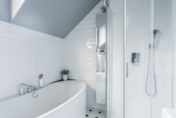 Exclusive white bathroom with bath and shower