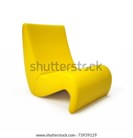 Exclusive yellow armchair isolated on white