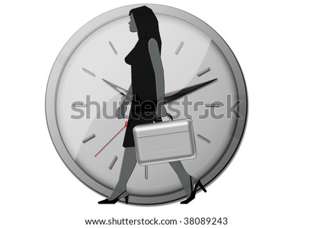 exclusive young businesswoman with briefcase in front of big clock