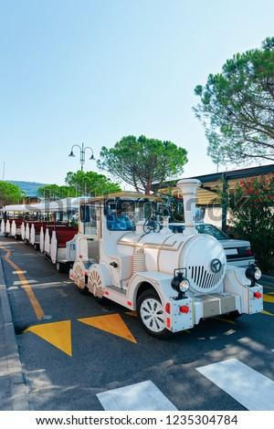 Excursion train in the street of Izola, Slovenia