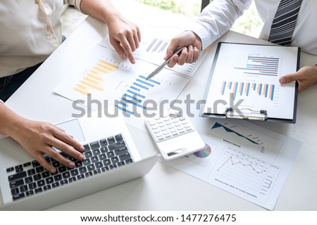 Executive Business team presentation conference on meeting to planning investment project working and strategy of business making conversation with partner, financial and accounting concept.