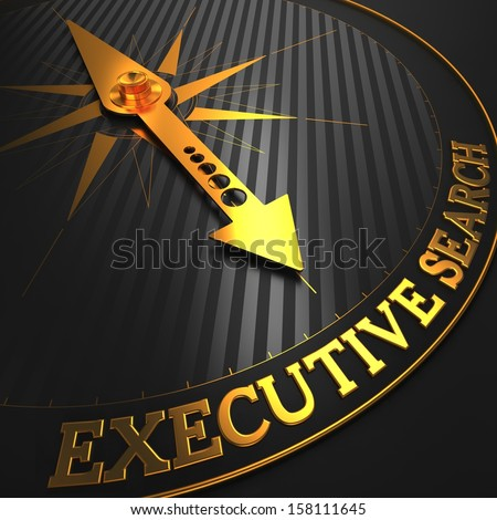 "Executive Search - Business Concept. Golden Compass Needle on a Black Field Pointing to the Word ""Executive Search"". 3D Render."
