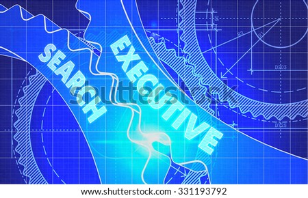 Executive Search on the Mechanism of Gears. Blueprint Style. Technical Design. 3d illustration, Lens Flare.
