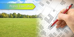 Executive urban plan, in Italian language Piano Esecutivo, concept with architect drawing an imaginary cadastral map of territory with buildings, fields and roads against a green area.