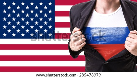 Executive with Russian Flag on American Flag on background