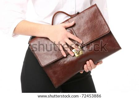 executive woman holding a bag