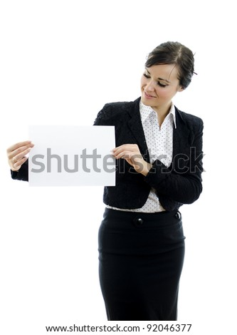 Executive woman with Business card or white sign, isolated on white