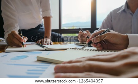 executives and discussing at business meeting, in office, colleagues management
