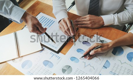 executives and discussing at business meeting, in office, colleagues management #1265404066