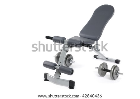Exercise bench and dumbbells. Gym equipment isolated on white background.