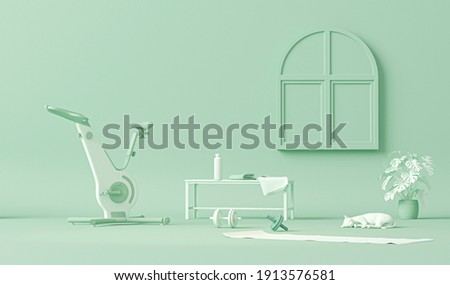 Exercise bike, weights and cat, plant. Pastel blue and white colors scene. Trendy 3d render for sport fitness equipment, female concept, lifting in the gym and exercise daily background. Healthy life