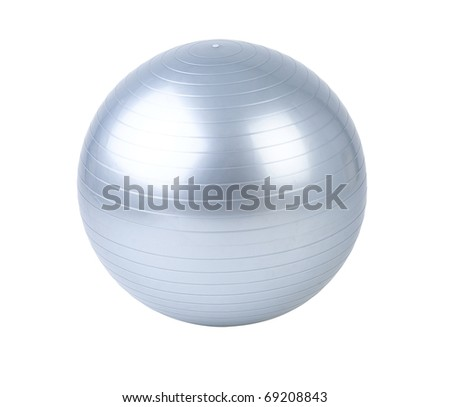 Exercise by gyms ball the image isolated on white