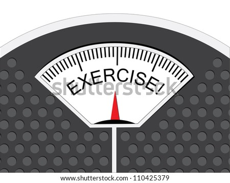Exercise is indicated on the pointer on the analog weighing scale.