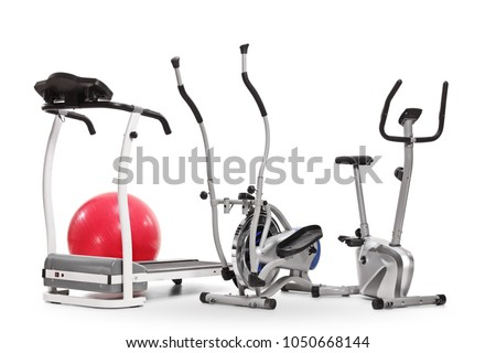 Exercise machines isolated on white background #1050668144