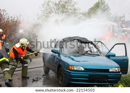 Exercise of rescue and fire in car accident
