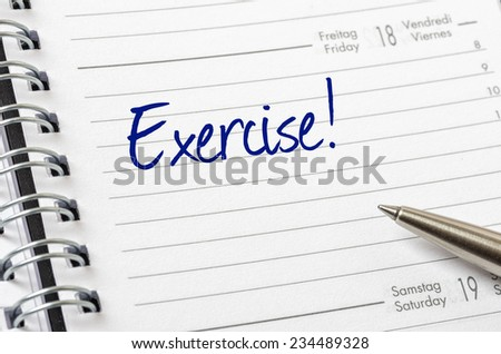 Exercise written on a calendar page