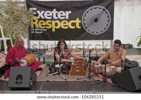 EXETER - JUNE 3: Classical Indian singer, Pooja Angra, performing live in the Acoustic Cafe at the Exeter Respect Festival on June 3, 2012 in Exeter, UK
