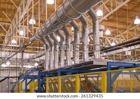 Exhaust hood with spiral air duct for ventilation in production process