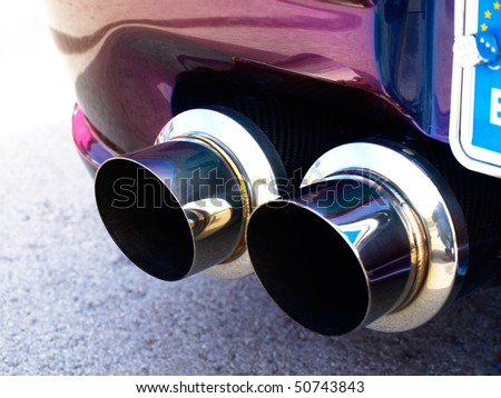 exhaust of a sports car