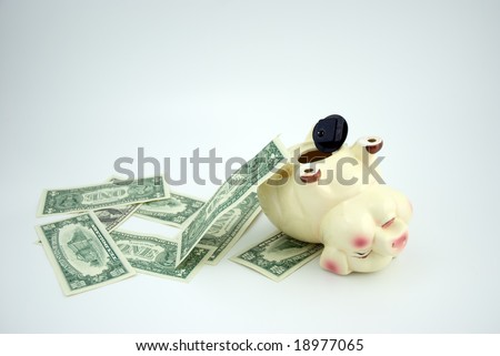 Exhausted piggy bank