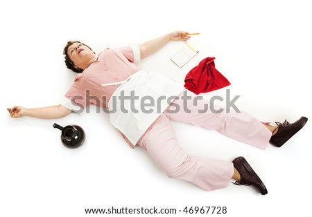 Exhausted waitress collapsed on the floor or dead.  Isolated on white.