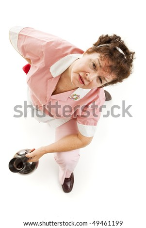 Exhausted waitress with back pain, getting up from the floor.  Isolated on white.