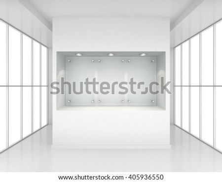 Exhibit Showcases with blank glass signs in the interior. 3d rendering