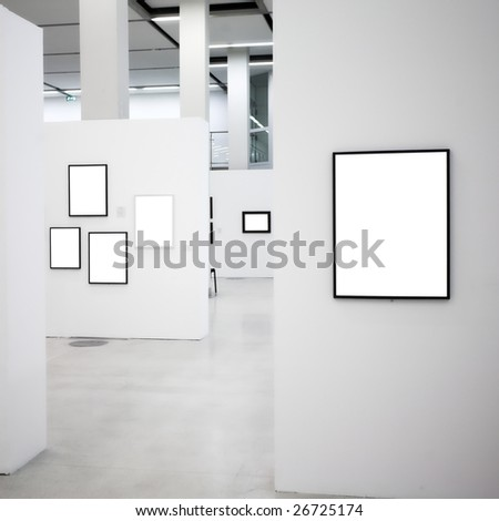 Exhibition in museum with many empty frames on white walls, square composition