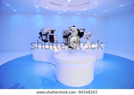 exhibition of brand new car engine. - stock photo