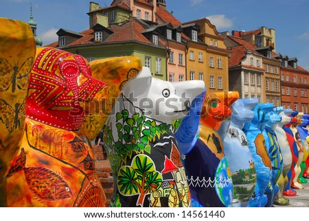 Exhibition of colorful Bears on Castle square in Old Town in Warsaw. Every bear represent different country of the world.