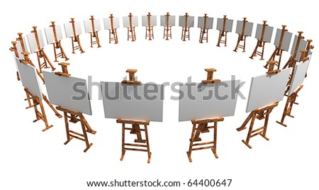 Exhibition of easels with blank canvas isolated on white 3d render