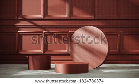 Exhibition Podium, stand, showcase on bright background for premium product - 3D render. Classic, luxury, empty room with decorative stucco molding, panels. Studio with geometric objects.