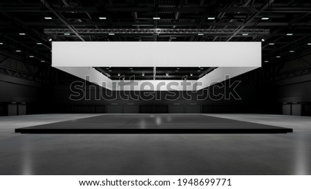 Exhibition stand plain used for mock-ups and branding  and Corporate identity.Retail banner design elements in Exhibition hall .3d render. Photo stock ©