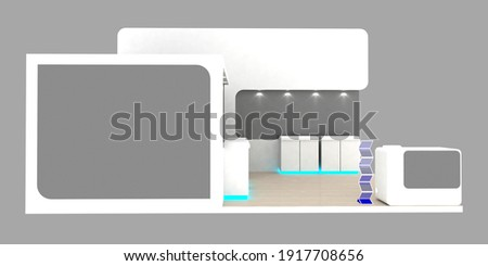 Exhibition stand plain white used for mock-ups and branding and Corporate identity.3d illustration Foto stock ©